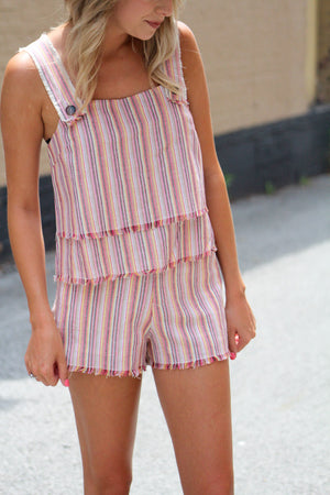 Perfection Happens Striped Fray Hem Shorts