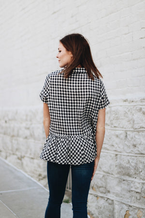 Be The Difference Gingham Babydoll Top