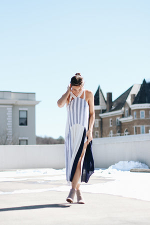 Something Right Striped Halter Maxi Dress