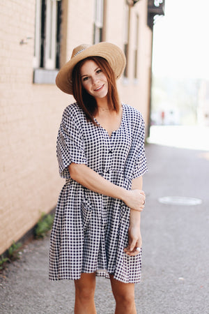 Still The One Gingham Button Front Dress