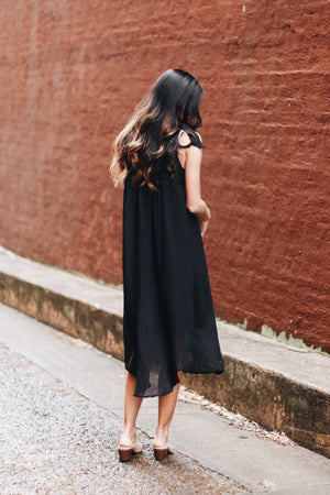 The Real Deal Tie Shoulder Midi Dress