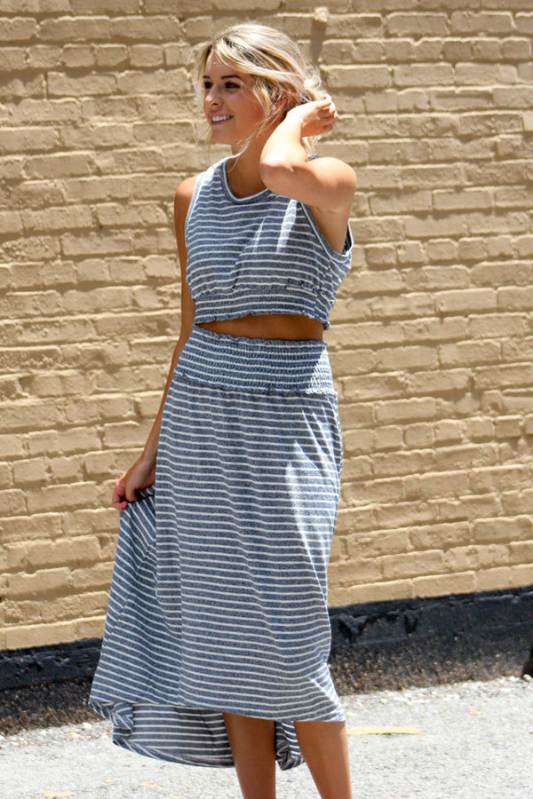 All The Right Moves Striped Skirt