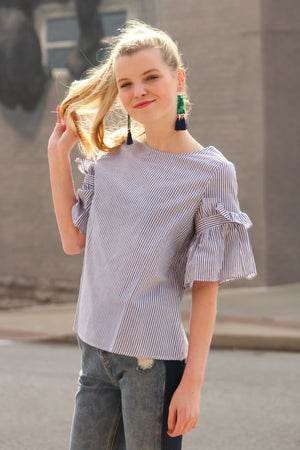 Brunch Date Striped Ruffle Sleeve Top