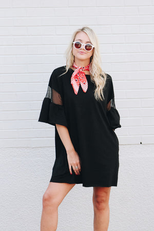 Evening Update Mesh Bell Sleeve Tee Dress