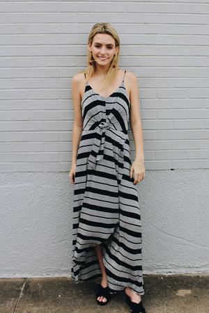 Beyond Wise Striped Tie Front Maxi Dress