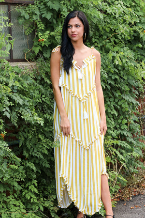 Tomorrow's Icon Striped Ruffle Maxi