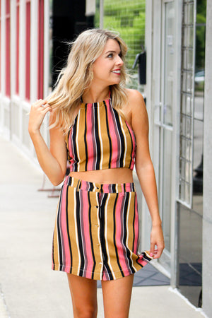 Easy Summer Striped Button Skirt