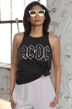 Chaser Brand ACDC Silver Tank Top - Savoir-Faire | Women's Clothing Boutique