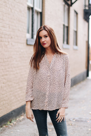 Spotted You Printed Button Blouse