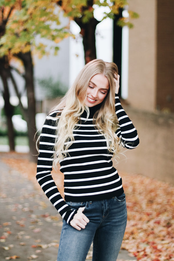 Alright Already Ruffle Trim Striped Sweater Top