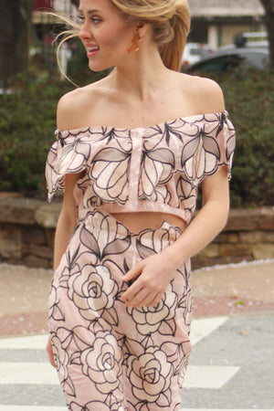 Full Bloom Embroidered Off the Shoulder Top