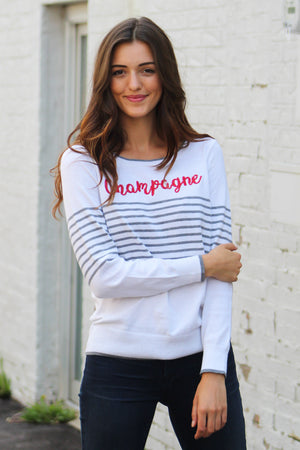 Chaser Brand Striped Champagne Sweater - Savoir-Faire | Women's Clothing Boutique