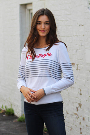 Chaser Brand Striped Champagne Sweater