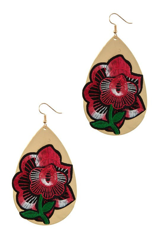 Embroidery Tear Drop Earring