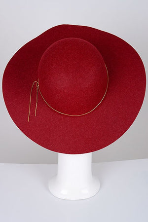 Gold Chain Trim Wide Brim Hat