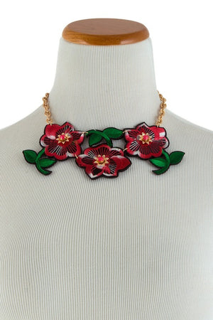 Embroidery Floral Statement Necklace