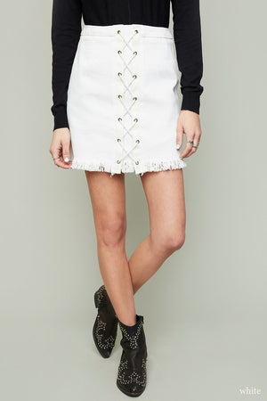 Blank Slate Fringe Lace Up Skirt - Savoir-Faire | Women's Clothing Boutique