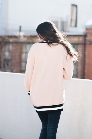 Just A Peach Contrast Edge Cardigan