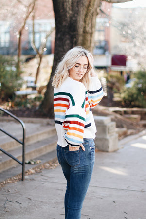 Head Over Heels Rainbow Striped Pullover