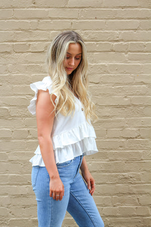Wild Honey Button Tiered Ruffle Top
