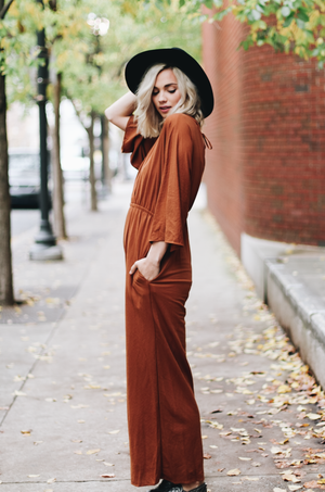 Make The Rounds Back Tie Wide Leg Jumpsuit