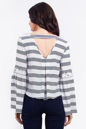 Crossing the Lines Bell Sleeve Top - Savoir-Faire | Women's Clothing Boutique
