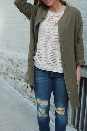 Army Surplus Long Jacket - Savoir-Faire | Women's Clothing Boutique