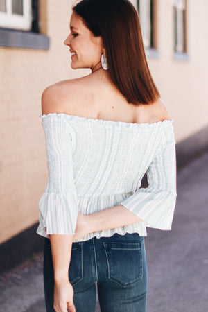 MinkPink Low Tide Off The Shoulder Shirred Top