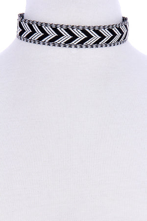 Black and White Aztec Choker - Savoir-Faire | Women's Clothing Boutique