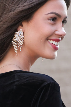 Rhinestone Tassel Clip On Earring