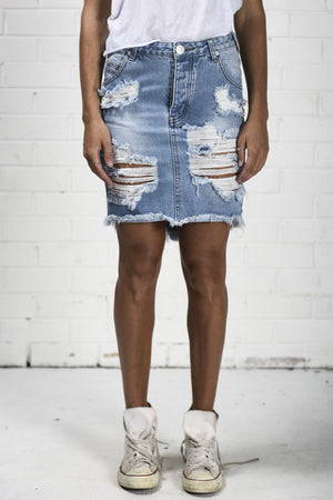One Teaspoon Hustler Denim Skirt - Savoir-Faire | Women's Clothing Boutique