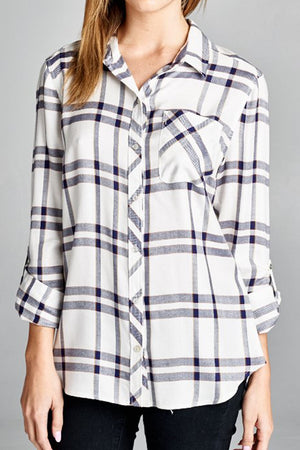Sky's the Limit Plaid Top - Savoir-Faire | Women's Clothing Boutique