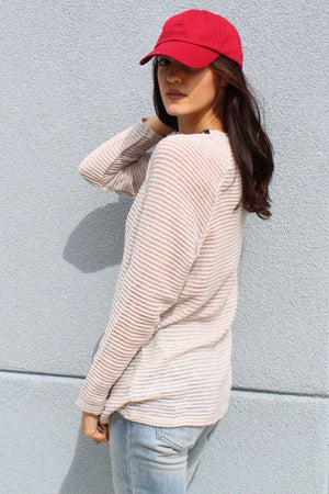 Grommet Lace Up Sweater