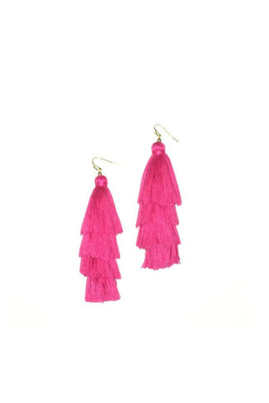 Solid Color Stacked Tassel Earring