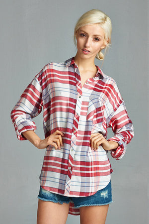 In the Zone Plaid Top