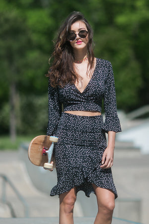 Be You Polka Dot Bell Sleeve Crop Top
