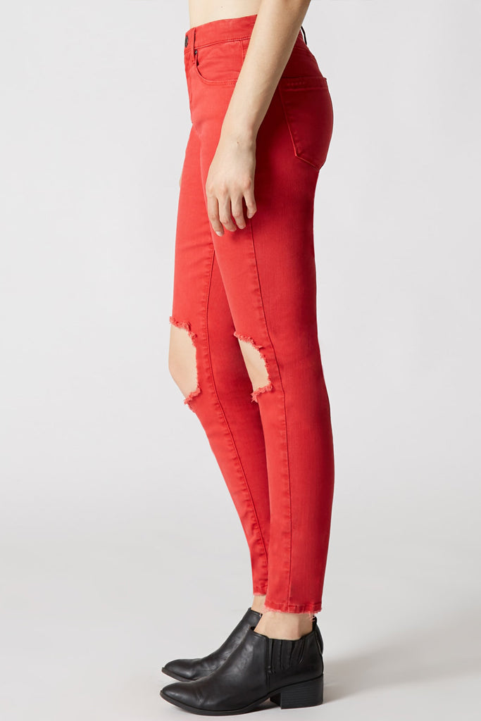 Blank NYC Skinny Jeans With Ripped Knee - Red Blank NYC WilfdhClD3