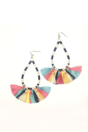 Striped Tassel Tear Drop Earring - Savoir-Faire | Women's Clothing Boutique
