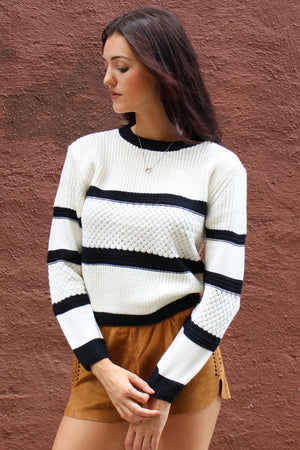 Diamond Panel Striped Crew Neck Sweater - Savoir-Faire | Women's Clothing Boutique