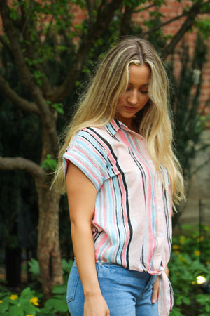 Walkin On Sunshine Striped Tie Front Top