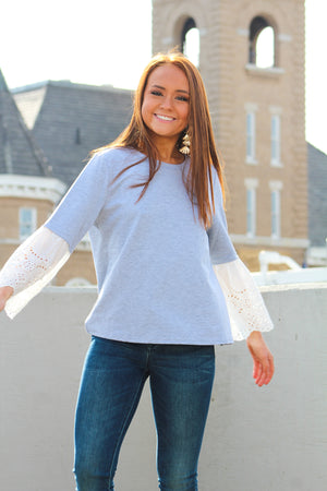Pretty Was Her Name Eyelet Detail Pullover
