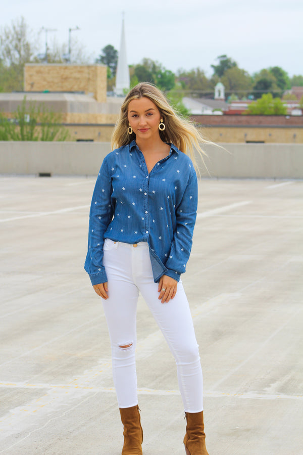 3ea0898ae41b6 Star In The Sky Denim Button Blouse