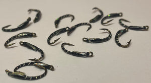 black and silver holographics buzzers trout fly fishing