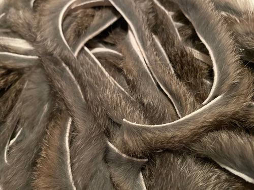 Dark Gray Natural Rabbit zonker strips