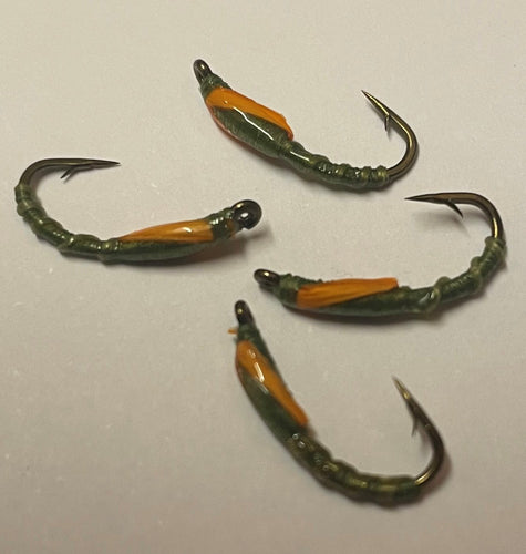 Olive flexi biot buzzer trout fly
