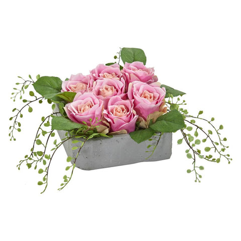 Rose Artificial Arrangement in Square Ceramic Vase