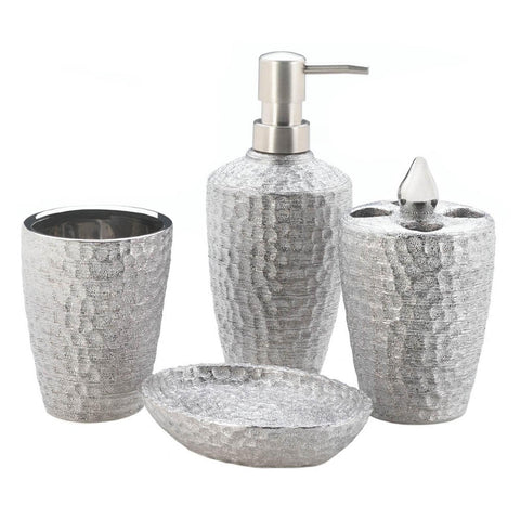 Hammered Silver Texture Bath Accessory Set