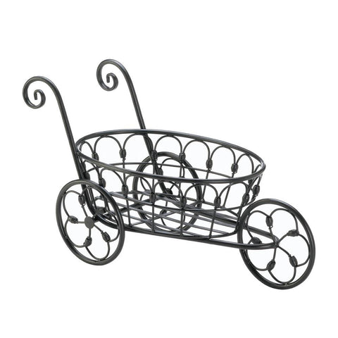 BLACK IRON FLOWER CART
