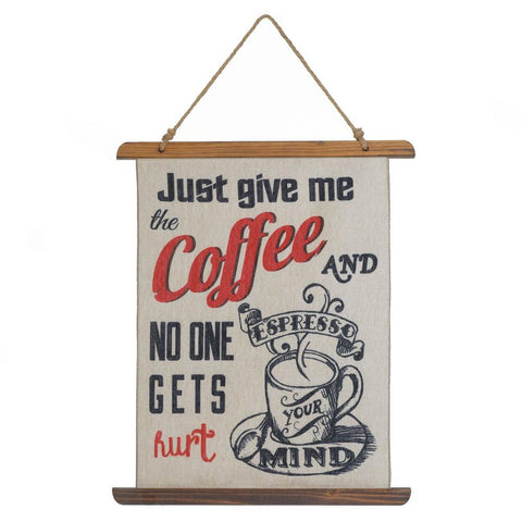 GIVE ME COFFEE LINEN WALL ART