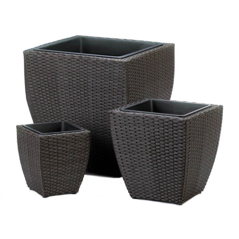 TUSCANY WICKER SQUARE PLANTER